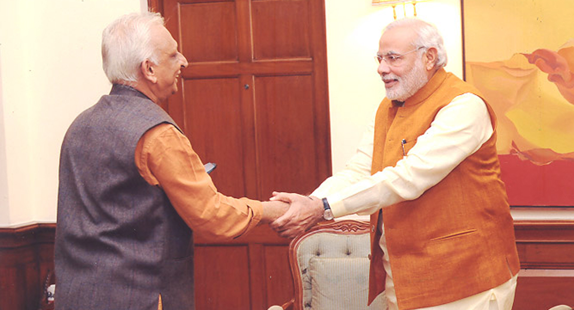Sri Narendra Modi-Prime Minister-India with Sri M-Manav Ekta Mission