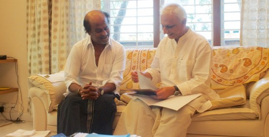 Sri M meets Rajinikanth briefing-him on Walk of Hope-2015