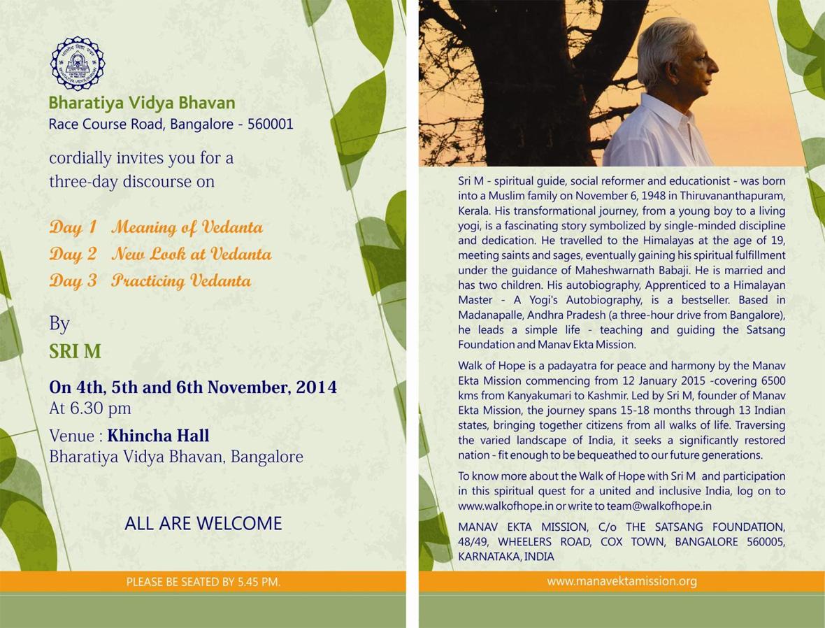 Sri M-Vedanta Discourse-Bangalore-November 2014