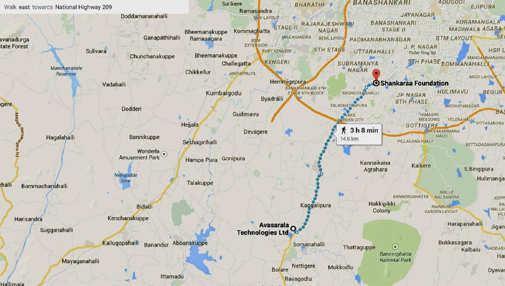 Walk of Hope-2015- Bengaluru Route map-April 3-2015