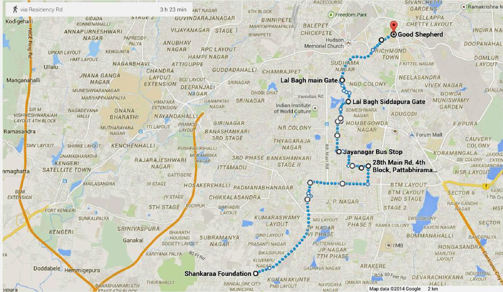 Walk of Hope 2015 -Bengaluru Route map-April 4, 2015